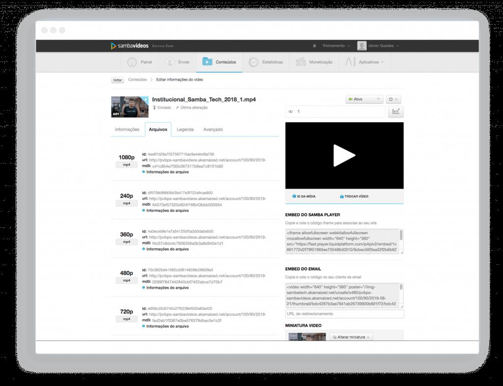 Samba Videos Plataforma de Hospedagem e Distribuição de Vídeos Sambatech